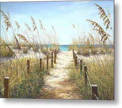 Sea Oat Path Metal Print by Laurie Hein