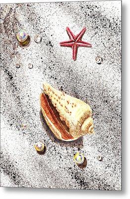 Sea Shells Pearls Water Drops And Seastar  Metal Print by Irina Sztukowski