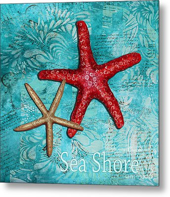 Sea Shore Original Coastal Painting Colorful Starfish Art By Megan Duncanson Metal Print by Megan Duncanson