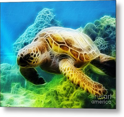 Sea Turtle 1 Metal Print by Cheryl Young