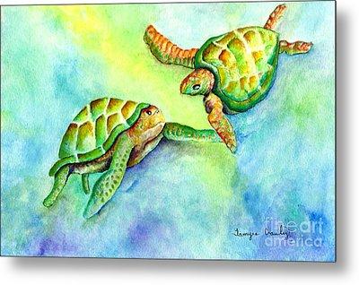 Sea Turtle Courtship Metal Print by Tamyra Crossley