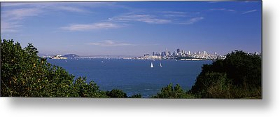 Sea With The Bay Bridge And Alcatraz Metal Print by Panoramic Images