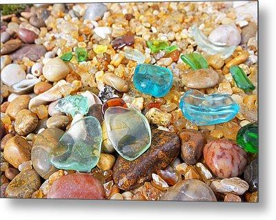 Seaglass Coastal Beach Rock Garden Agates Metal Print by Baslee Troutman