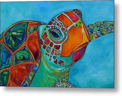 Seaglass Sea Turtle Metal Print by Patti Schermerhorn
