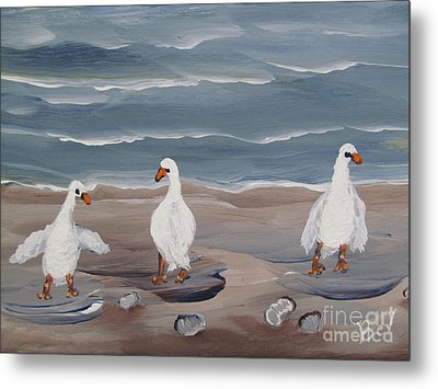 Seagulls At The Beach Metal Print by Beverly Livingstone