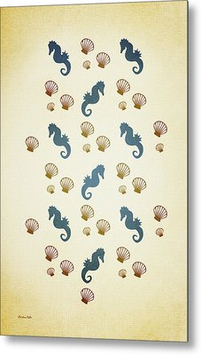 Seahorse And Shells Pattern Aged Metal Print by Christina Rollo
