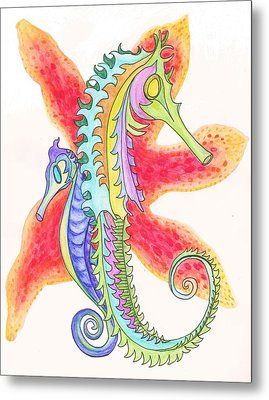 Seahorses Metal Print by Cherie Sexsmith