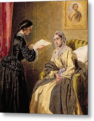 Searching The London Gazette For The List Of The Killed And Wounded Metal Print by Thomas Harrington Wilson
