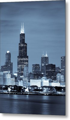 Sears Tower In Blue Metal Print by Sebastian Musial