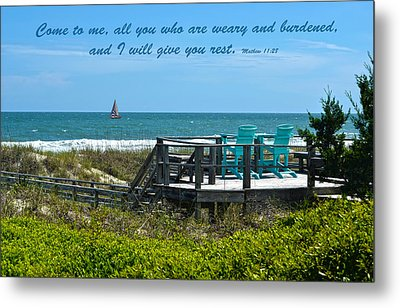 Seascape And Scripture Metal Print by Sandi OReilly