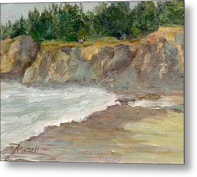 Seascape Overcast Beach Colorful Landscape Original Painting  Metal Print by K Joann Russell