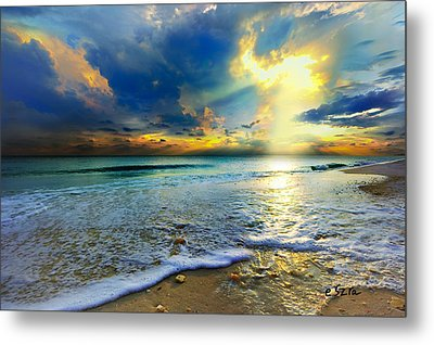 Seascape Sunset-gold Blue Sunset Metal Print by Eszra Tanner