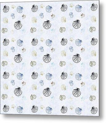 Seashell Pattern Metal Print by Christina Rollo