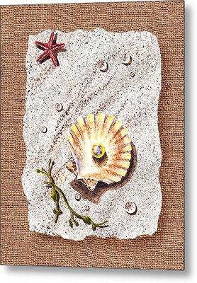 Seashell With The Pearl Sea Star And Seaweed  Metal Print by Irina Sztukowski