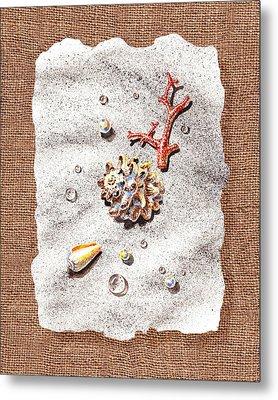 Seashells Coral Pearls And Water  Drops Metal Print by Irina Sztukowski