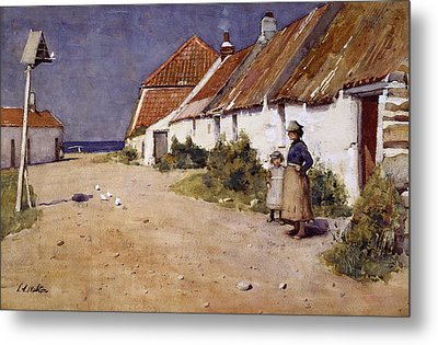 Seaside Cottages With Dovecot Metal Print by Edward Arthur Walton