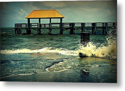 Seaside Dock Metal Print by Ali Dover