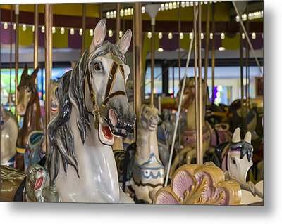 Seaside Heights Casino Carousel  Metal Print by Susan Candelario