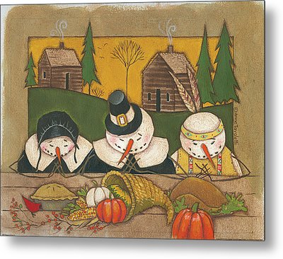Seasonal Snowman Xi Metal Print by Anne Tavoletti