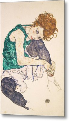 Seated Woman With Legs Drawn Up. Adele Herms Metal Print by Egon Schiele