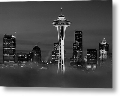Seattle Morning Mist Black And White Metal Print by Benjamin Yeager