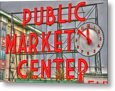 Seattle Public Market Center Clock Sign Metal Print by Tap On Photo