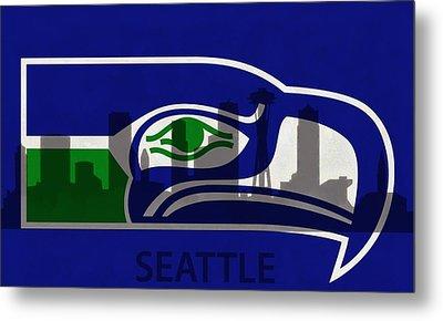 Seattle Seahawks On Seattle Skyline Metal Print by Dan Sproul