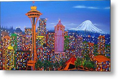 Seattle Space Needle 5 Metal Print by Portland Art Creations