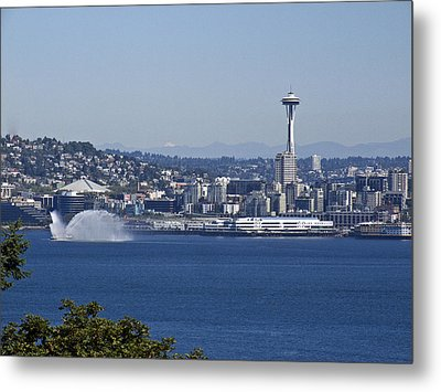 Seattle Space Needle And Fire Boat Metal Print by Ron Roberts