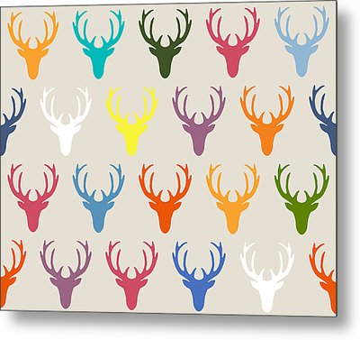 Seaview Simple Deer Heads Metal Print by Sharon Turner