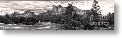 Sedona Arizona Black And White Panorama Metal Print by Gregory Dyer