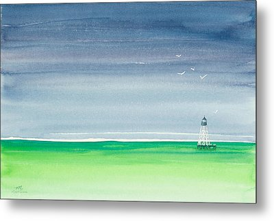 Seeking Refuge Before The Storm Alligator Reef Lighthouse Metal Print by Michelle Wiarda