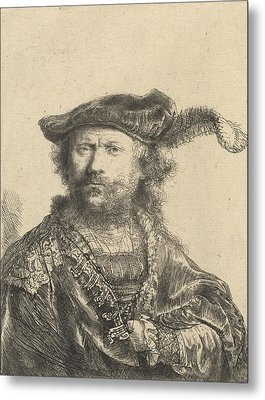 Self Portrait In A Velvet Cap With Plume Metal Print by Rembrandt