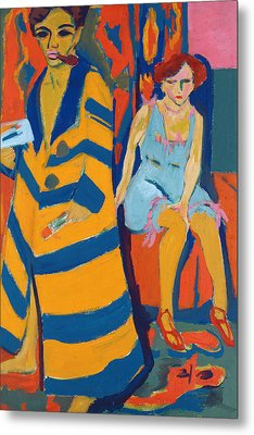 Self Portrait With A Model Metal Print by Ernst Ludwig Kirchner