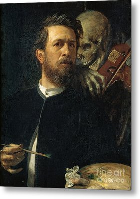 Self-portrait With Death As A Fiddler Metal Print by Celestial Images