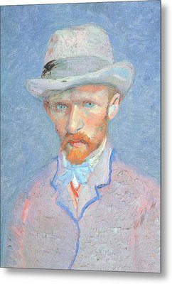 Self-portrait With Gray Felt Hat Metal Print by Vincent van Gogh