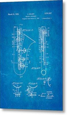 Selmer Saxophone Patent Art 1939 Blueprint Metal Print by Ian Monk