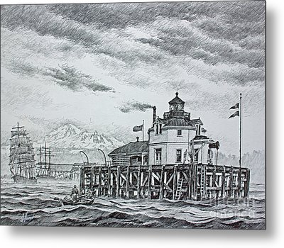 Semiahmoo Lighthouse - Drawing Metal Print by James Williamson