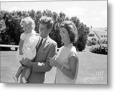 Senator John F. Kennedy With Jacqueline And Caroline Metal Print by The Phillip Harrington Collection
