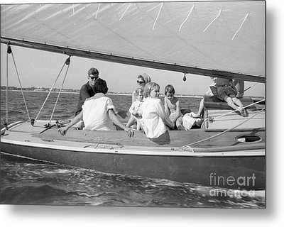 Senator John F. Kennedy With Jacqueline And Children Sailing Metal Print by The Phillip Harrington Collection