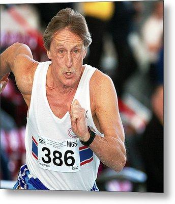 Senior British Masters Athlete Running Metal Print by Alex Rotas
