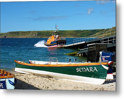Sennen Cove Lifeboat And Pilot Gigs Metal Print by Terri Waters