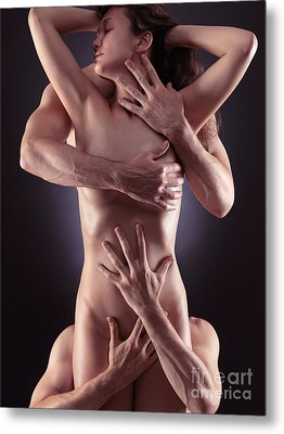 Sensual Photo Of Male Hands Embracing A Woman Metal Print by Oleksiy Maksymenko