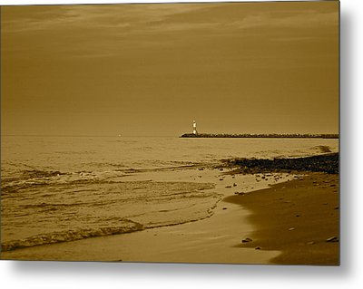 Sepia Lighthouse Metal Print by Frozen in Time Fine Art Photography