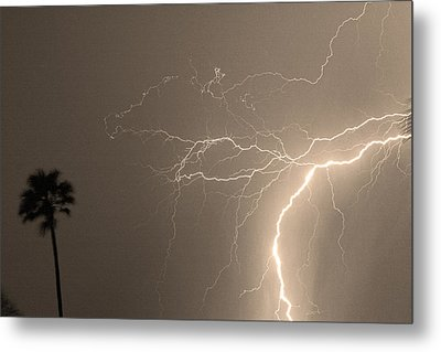 Sepia Tropical Thunderstorm Night  Metal Print by James BO  Insogna