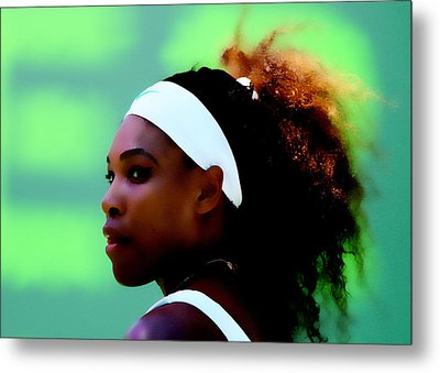 Serena Williams Match Point Metal Print by Brian Reaves