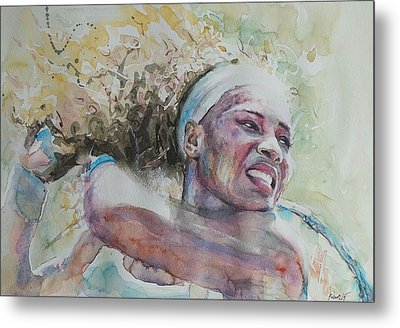 Serena Williams - Portrait 2 Metal Print by Baresh Kebar - Kibar