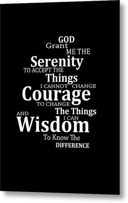 Serenity Prayer 5 - Simple Black And White Metal Print by Sharon Cummings