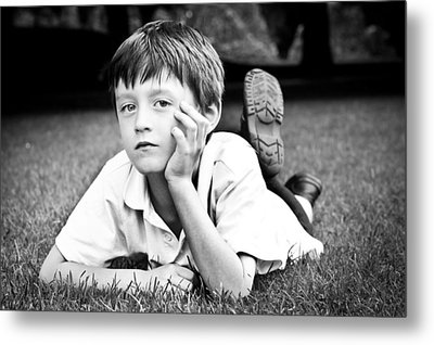 Serious Child Metal Print by Tom Gowanlock