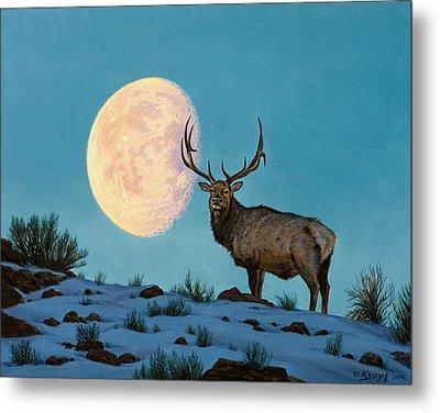 Setting Moon And Elk Metal Print by Paul Krapf